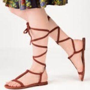 Free People Dahlia Boho Lace Up Leather Sandals 38
